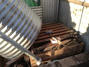 Removing old rotting base – Removing old rotting base and tank ready to replace